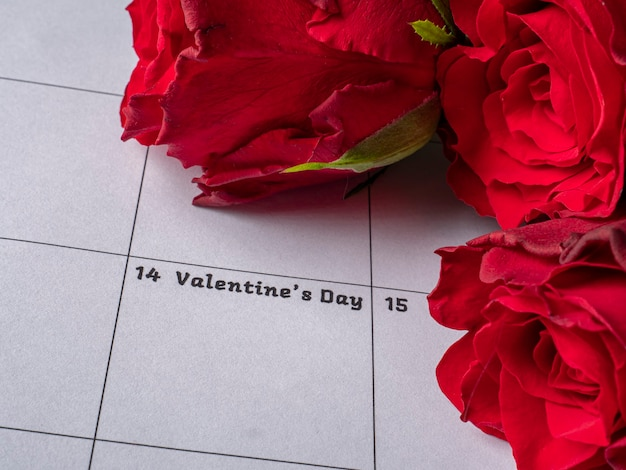 Roses rouges sur le calendrier de la saint-valentin