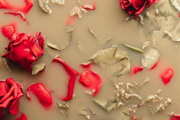 Roses rouges et pétales dans de l'eau brune