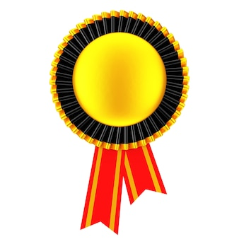 Rosette de ruban de récompense vierge d'or sur fond blanc. rendu 3d.