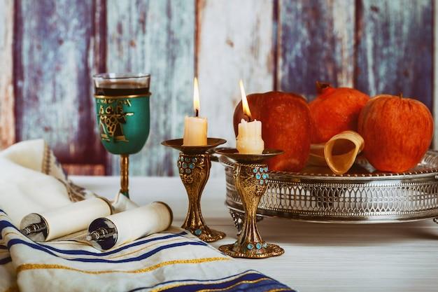 Rosh hashanah, concept de vacances du nouvel an juif. mise au point sélective