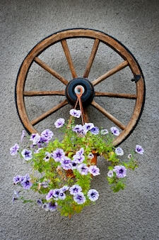 Roue en bois avec un pot de fleur
