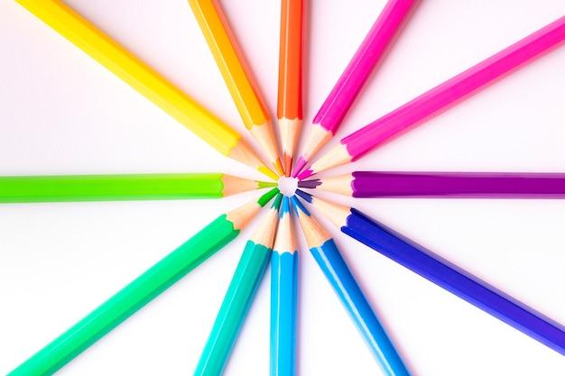 Roue chromatique composée de crayons de couleur placés sur un fond blanc