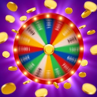 Roue de fortune tournante 3d réaliste avec des pièces d'or volantes. roulette chanceuse.