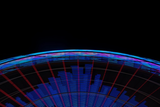 Roue merveilleuse néon gros plan sur fond noir