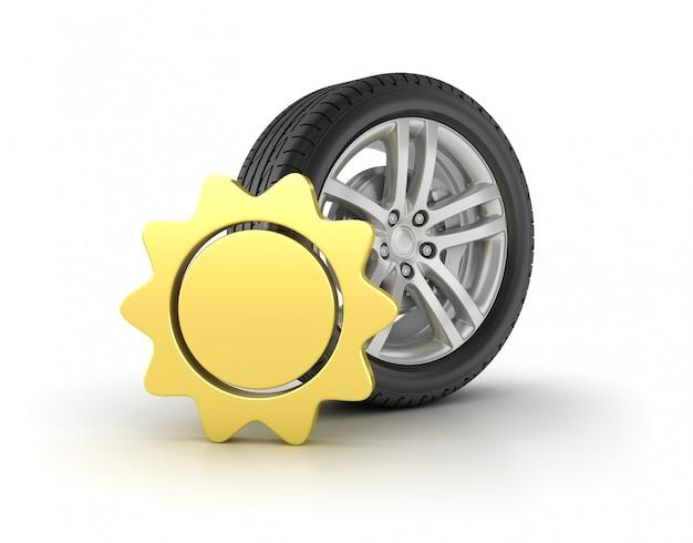 Roue de voiture avec icône d'été