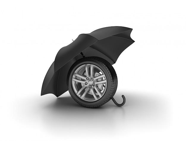 Roue de voiture avec parapluie