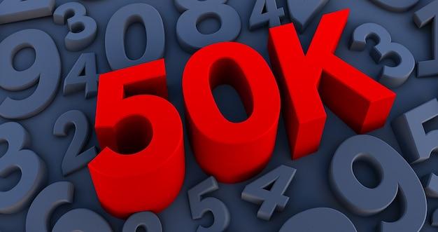 Rouge 50k, 50000 sur un nombre noir.