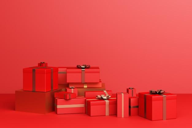 Rouge beaucoup de coffret cadeau sur fond rouge. rendu 3d
