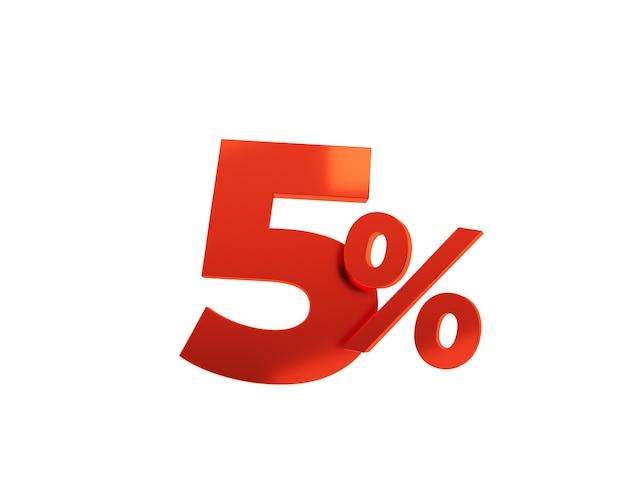 Rouge cinq pour cent sur fond blanc. illustration de rendu 3d.