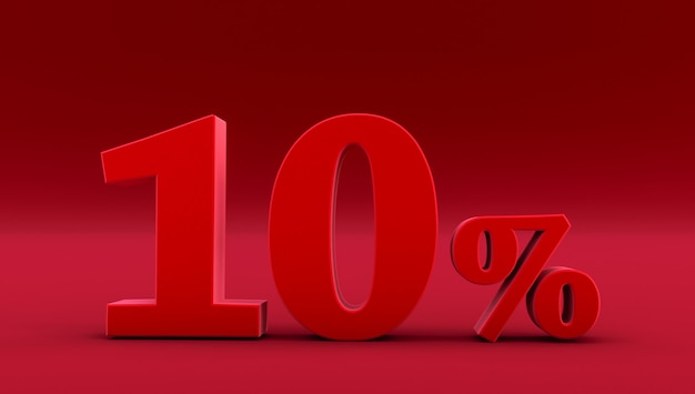 Rouge dix pour cent sur fond rouge. rendu 3d. dix %