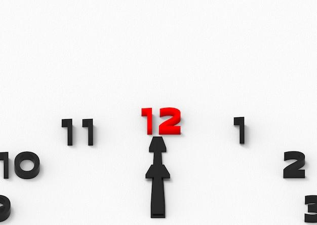 Rouge douze nombre de à midi comme un temps favori du concept de tout le monde.