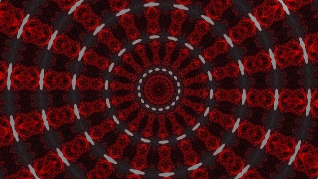 Rouge foncé sur kaléidoscope gris, motifs de volets en bois patinés peints en rouge traditionnel vintage et motifs kaléidoscopiques hexagonaux sur fond noir