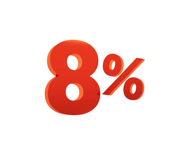 Rouge huit pour cent sur fond blanc. rendu 3d.