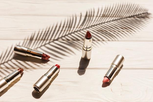 Rouge à lèvres vue de dessus avec ombre de branche de palmier