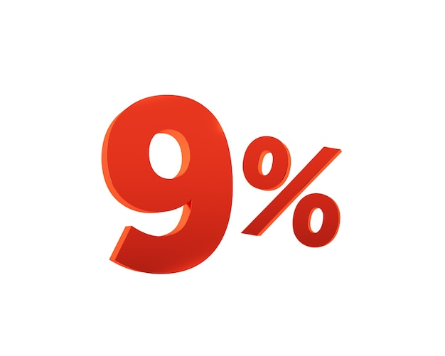 Rouge neuf pour cent sur fond blanc. rendu 3d.