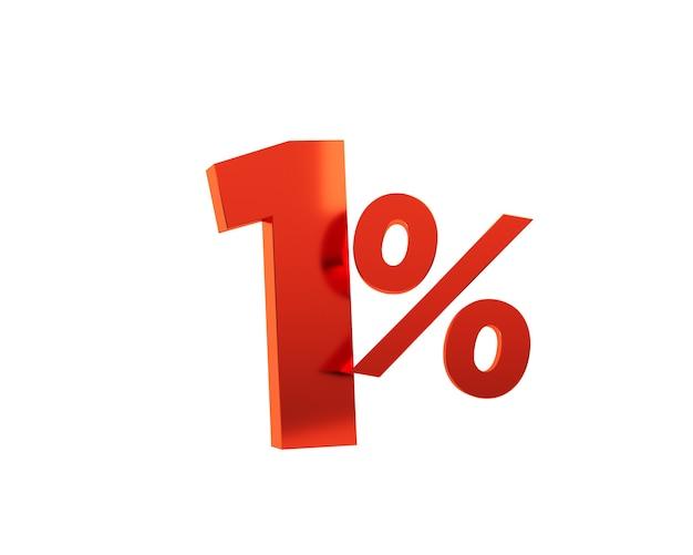 Rouge un pour cent sur fond blanc. rendu 3d.