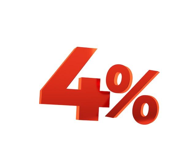 Rouge quatre pour cent sur fond blanc. rendu 3d.