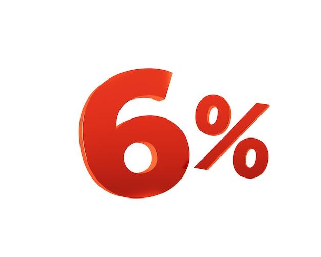 Rouge six pour cent sur fond blanc. illustration de rendu 3d.
