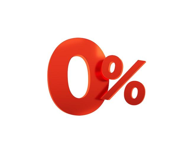 Rouge zéro pour cent sur fond blanc. illustration de rendu 3d.