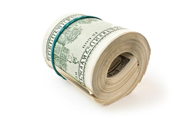 Rouleau d'argent gros isolé sur fond blanc