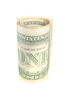 Rouleau d'un billet d'un dollar isolé sur blanc