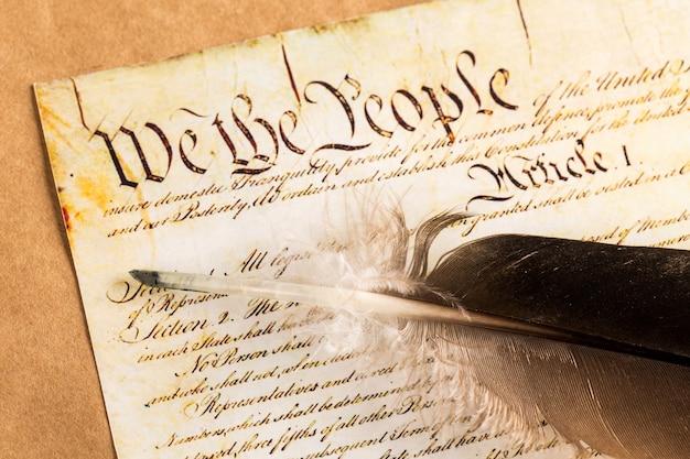 Rouleau de la constitution américaine vintage, patriotisme, fond du 4 juillet