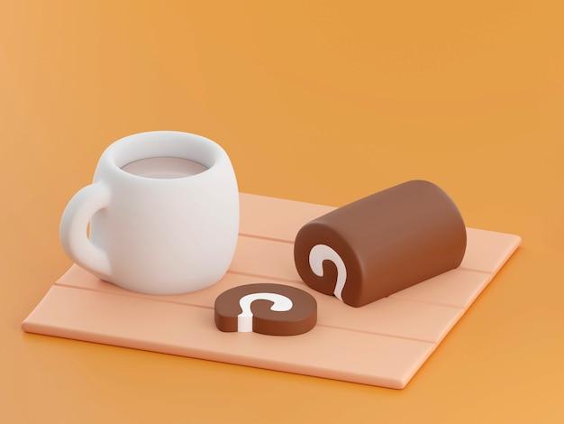 Rouleau de gâteau sur fond illustration de rendu 3d