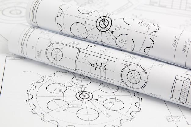 Rouleau de papier dessins techniques de mécanismes et machine
