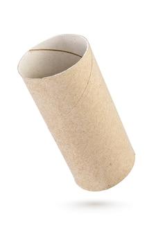 Rouleau de papier toilette carton vide isolé sur un blanc