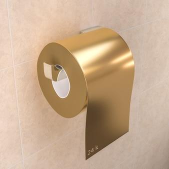 Rouleau de papier toilette couleur or.
