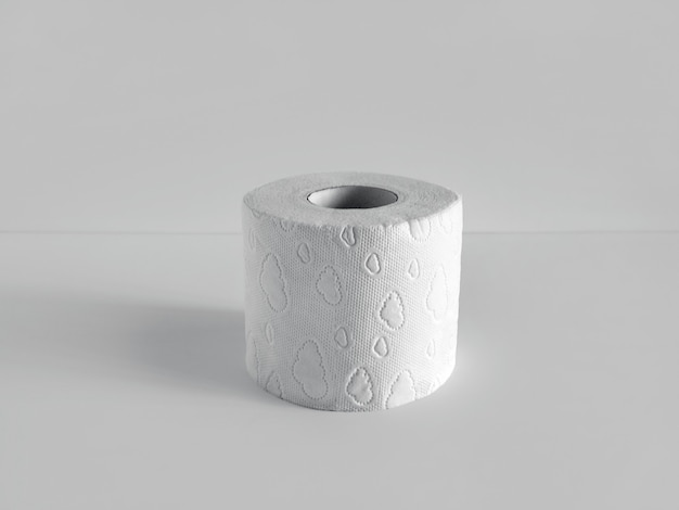 Un rouleau de papier toilette doux sur fond clair.