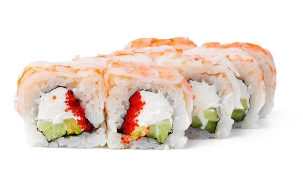 Rouleau de sushi de cuisine japonaise sur un blanc