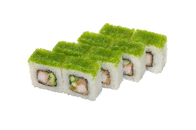 Rouleaux aux crevettes légumes et décorations de caviar vert un plat traditionnel japonais