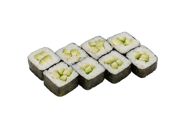 Rouleaux de sushi aux légumes avec avocat isolé sur blanc échantillon de plats préparés