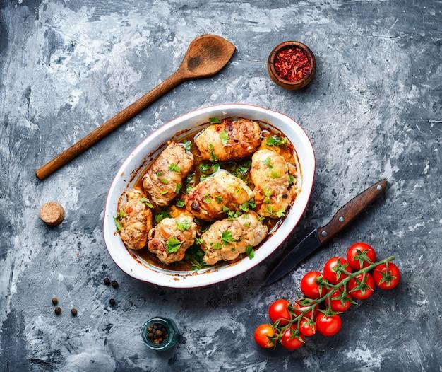 Rouleaux de viande de poulet