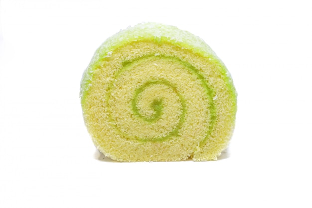 Rouler Le Gâteau Avec Fourrage Au Pandan Photo Premium