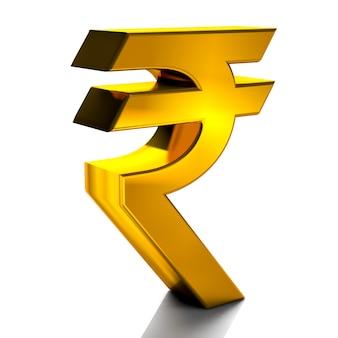 Roupie monnaie signe symboles couleur or rendu 3d isolé sur fond blanc
