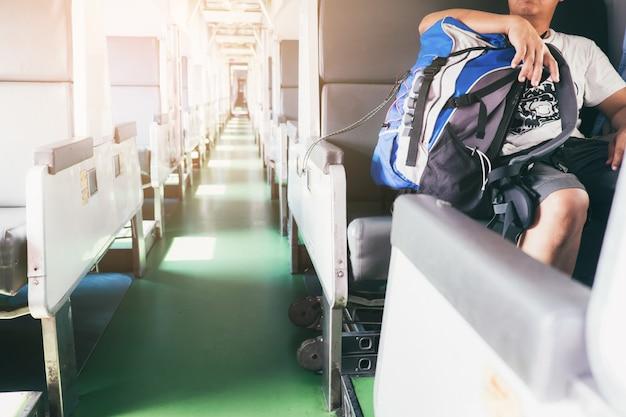 Routard voyageur assis dans le train.