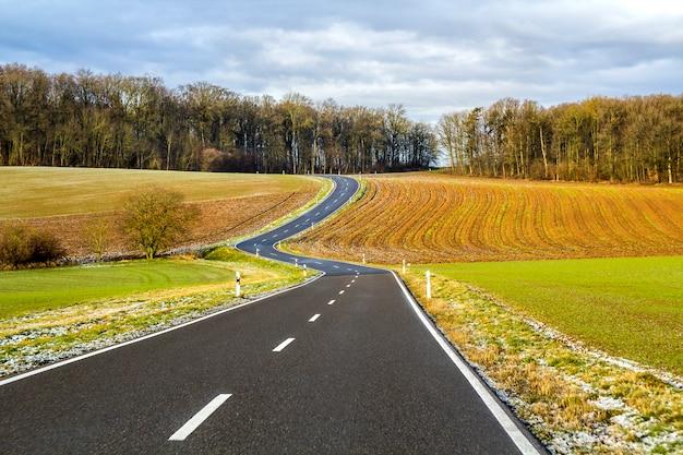 Route d'asphalte noire vide entre champs verts
