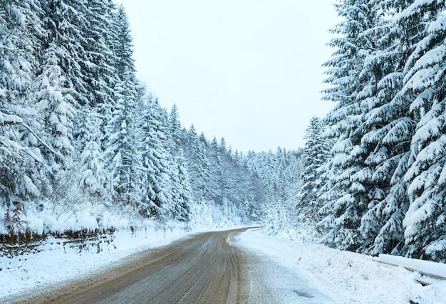 Route de campagne d'hiver avec forêt de sapins sur le côté journée nuageuse.