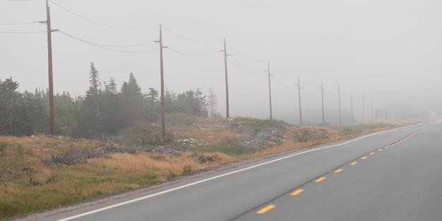 Route dans la brume, terre-neuve-et-labrador, canada