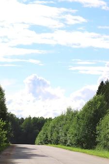 Route dans le champ paysage nuageux