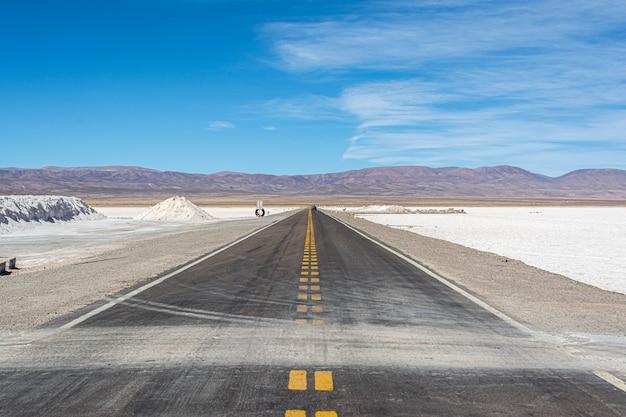 Route droite à haute altitude à jujuy, argentine