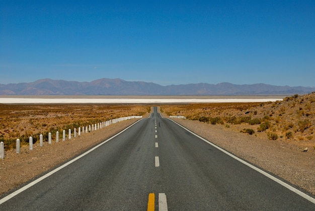 Route droite vers salinas grandes, jujuy, argentine