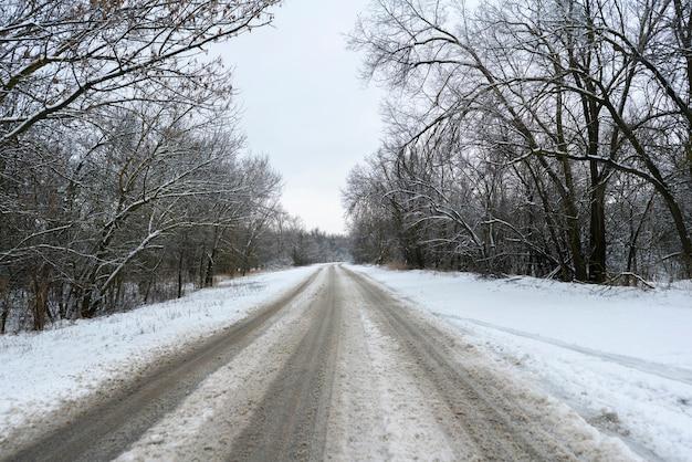 La route enneigée qui traverse la forêt et les arbres, saison d'hiver