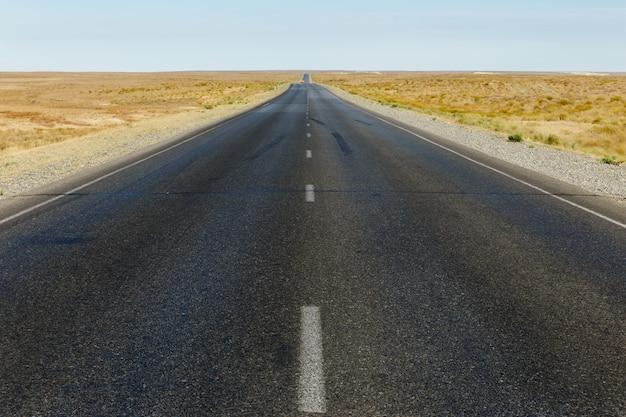 Route goudronnée dans la steppe du kazakhstan
