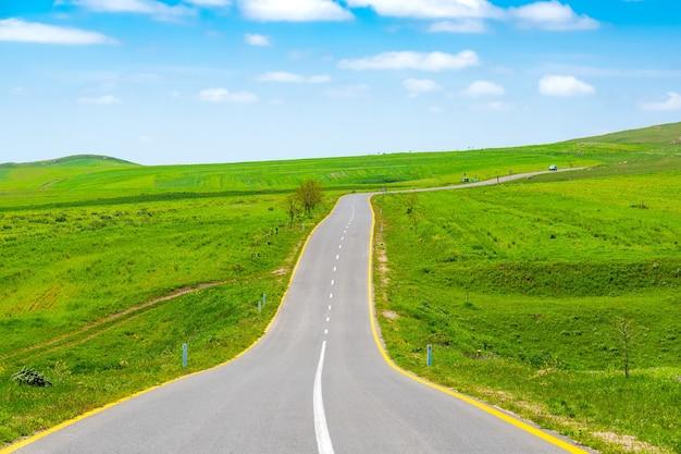 Route goudronnée entre les champs verts de ferme avec le ciel bleu et les nuages