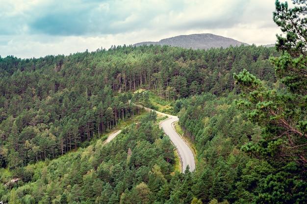 Route goudronnée haut dans les montagnes norvégiennes