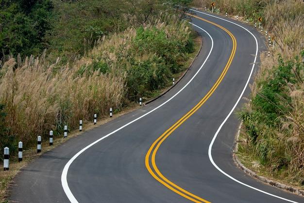 Route goudronnée serpentant sur les montagnes avec des lignes de circulation jaunes et blanches.