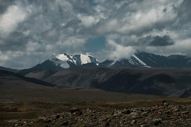 La route de kosh-agach au village de belyashi dans la république de l'altaï.